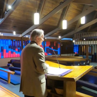 Pastor Dave at pulpit, 3-8-2020